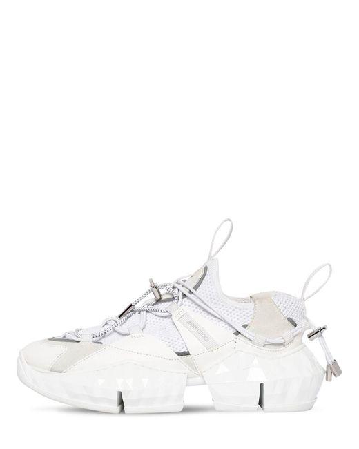 Jimmy Choo Diamondニット&レザースニーカー White