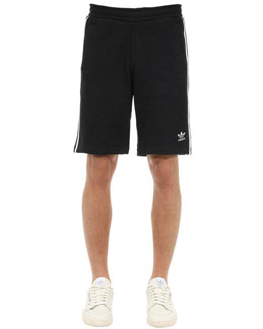 メンズ Adidas Originals 3ストライプ コットンショートパンツ Black