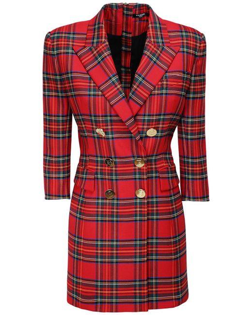 Balmain ストレッチタータンジャケットドレス Red
