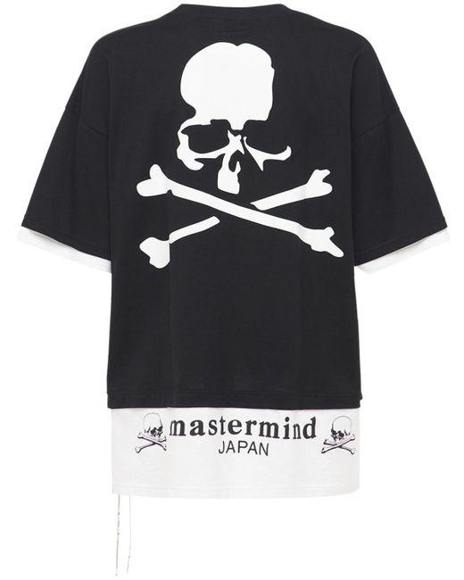 メンズ MASTERMIND WORLD Boxy レイヤードコットンtシャツ Black