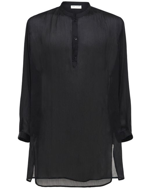 メンズ Saint Laurent ロングシアーシルクシャツ Black