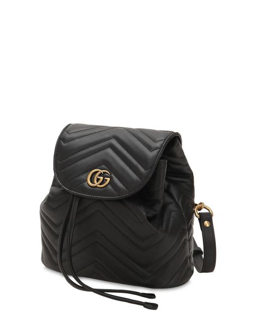 4154bb1b8ee7 Lyst - Gucci Mini Gg Marmont Leather Backpack in Black - Save 25%