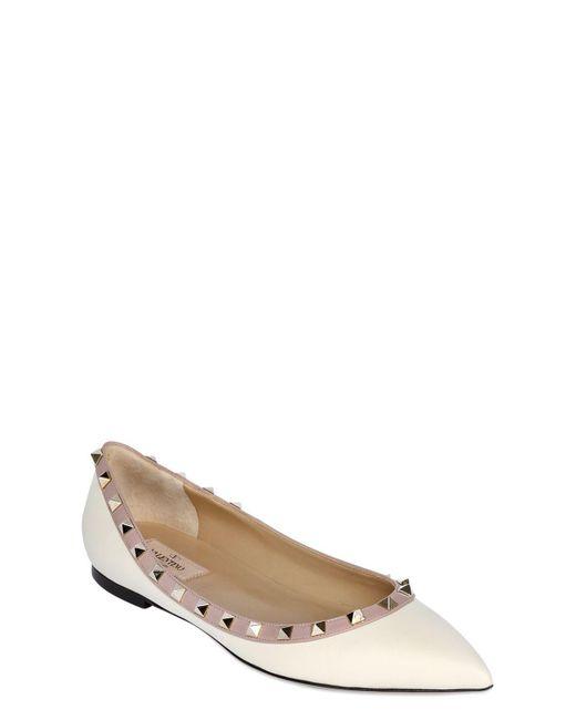 Valentino - Pink Rockstud Ballerina Flat - Lyst