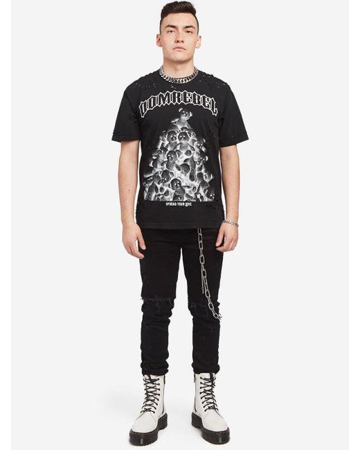 メンズ DOMREBEL コットンジャージーtシャツ Black