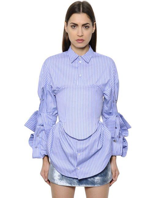 Y. Project | Blue Striped Cotton Poplin Bustier Top | Lyst