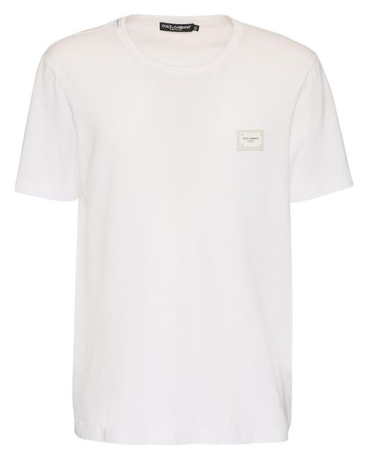 メンズ Dolce & Gabbana ホワイト エッセンシャル ロゴ パッチ T シャツ White