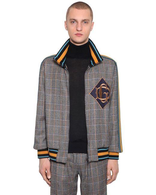 メンズ Dolce & Gabbana ウールブレンドジップアップジャケット Brown