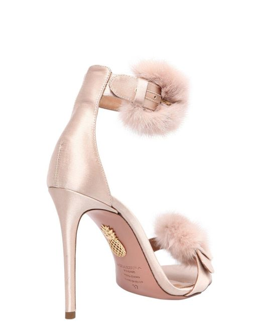 Eastbay For Sale Aquazzura 105MM SINATRA FUR & SATIN SANDALS From China Outlet Sale Finishline Online View Online RqJq6Su