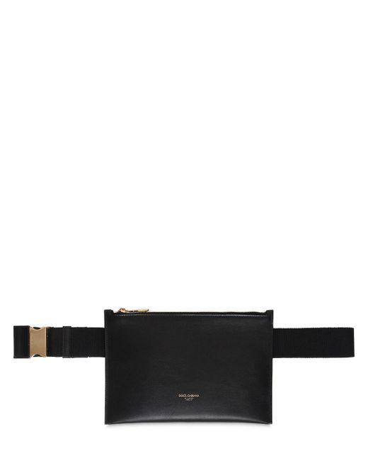 メンズ Dolce & Gabbana レザーウェストバッグ Black