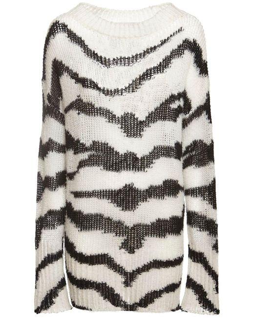 Stella McCartney Zebra インターシャウールブレンドセーター Multicolor