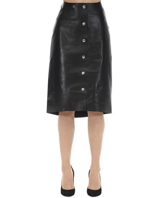 Victoria Beckham レザーミディスカート Black