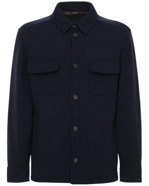 メンズ Loro Piana ライトダブルカシミアシャツジャケット Blue
