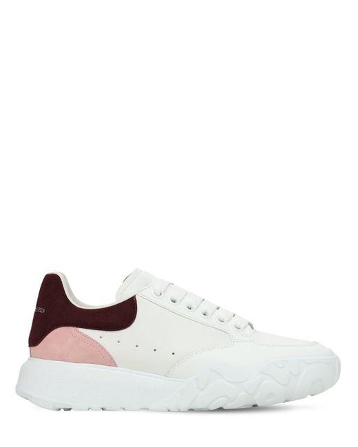 Кроссовки Из Кожи И Замши 45mm Alexander McQueen, цвет: White