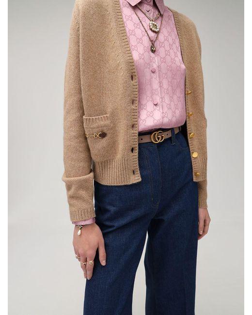 "Кожаный Ремень ""gg Marmont"" 20мм Gucci, цвет: Pink"