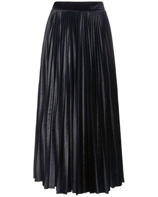 Юбка Со Складками Из Велюра Valentino, цвет: Black