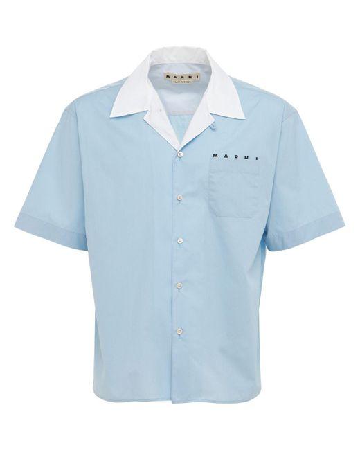 メンズ Marni コットンポプリンボウリングシャツ Blue