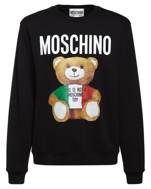 Хлопковый Свитшот С Принтом Moschino для него, цвет: Black