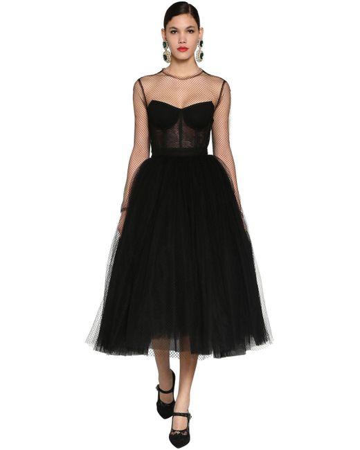Dolce & Gabbana チュール&ネット コルセットミディドレス Black