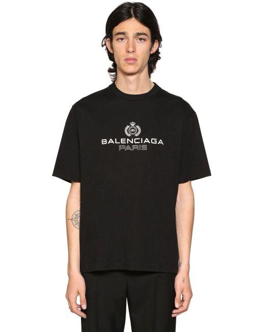 メンズ Balenciaga ロゴプリントコットンジャージーtシャツ Black