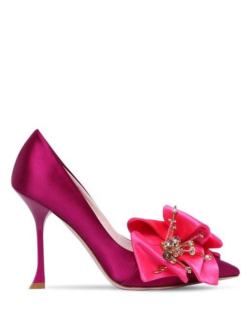 Атласные Туфли С Цветочной Аппликацией Roger Vivier, цвет: Pink