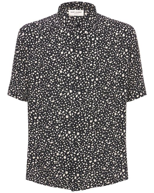 メンズ Saint Laurent Leopard ビスコースシャツ Black