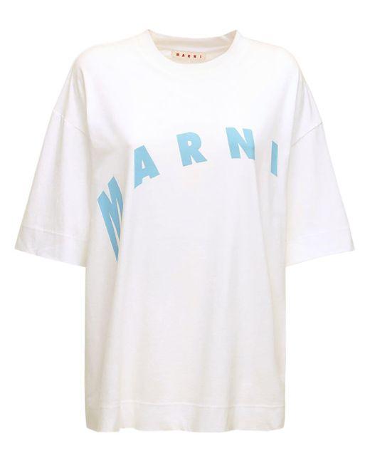 Marni ロゴプリントコットンtシャツ White