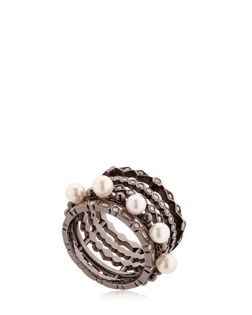 Colette - Entwined Diamond Black Gold Ring - Lyst