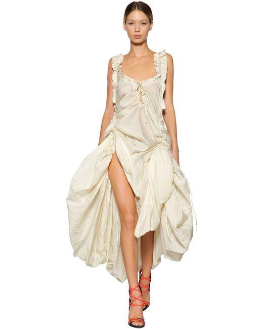 Robe Drapée En Voile De Soie DSquared² en coloris White