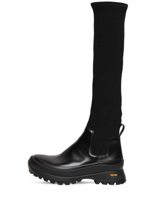 Jil Sander ブラッシュドレザー&ネオプレンブーツ 40mm Black