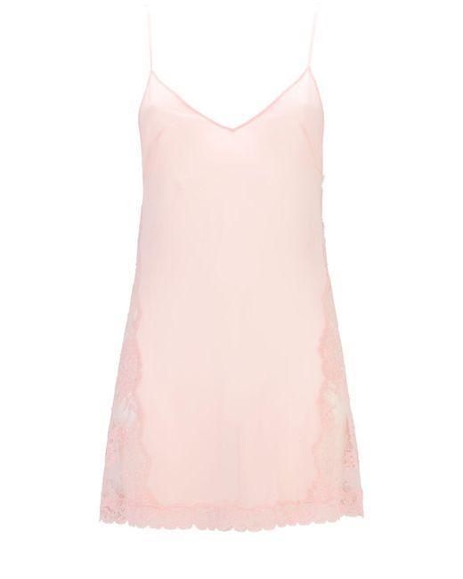 La Perla Leavers Poem シルク&レース ミニスリップドレス Pink