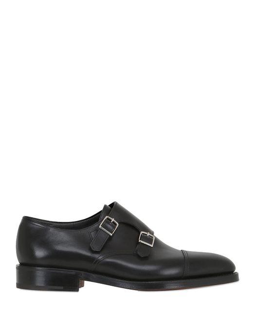 John Lobb - Black William Leather Monk Strap Shoes for Men - Lyst