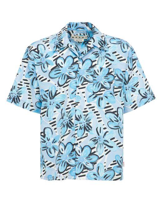 メンズ Marni プリントボウリングシャツ Blue
