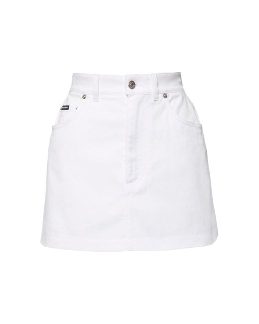 Юбка Из Хлопкового Деним Dolce & Gabbana, цвет: White