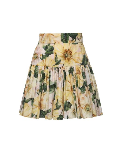 Dolce & Gabbana Camelia コットンポプリンミニスカート Yellow
