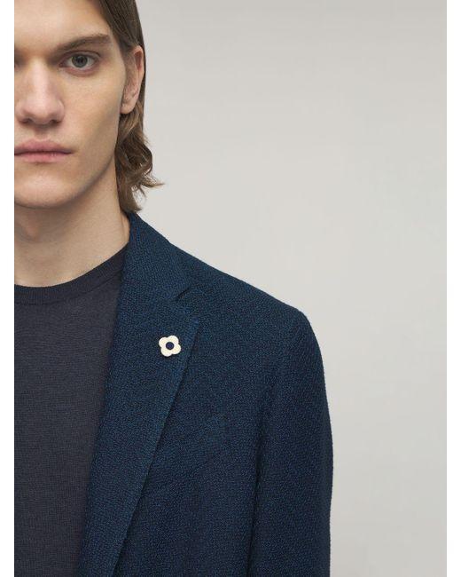 メンズ Lardini コットンブレンドジャケット Blue