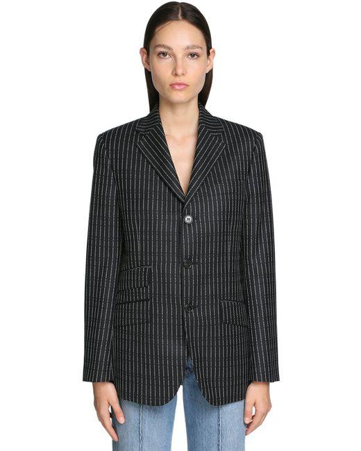 Logo Pinstripe Wool Twill Blazer Maison Margiela, цвет: Black