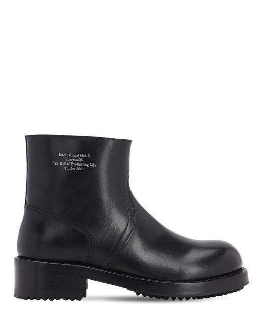 Кожаные Ботинки С Принтом Raf Simons для него, цвет: Black