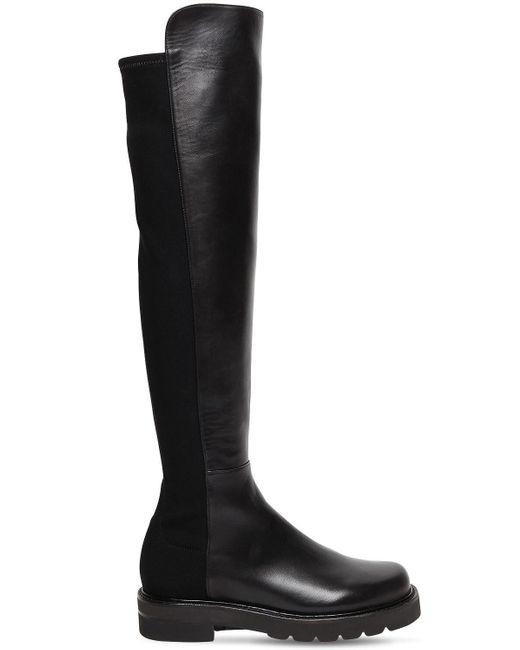 Кожаные Сапоги 5050 30mm Stuart Weitzman, цвет: Black