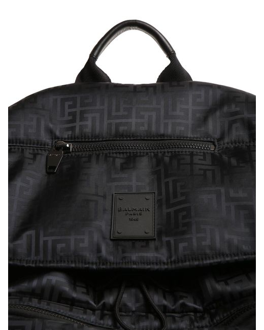メンズ Balmain Monogram ナイロンバックパック Black