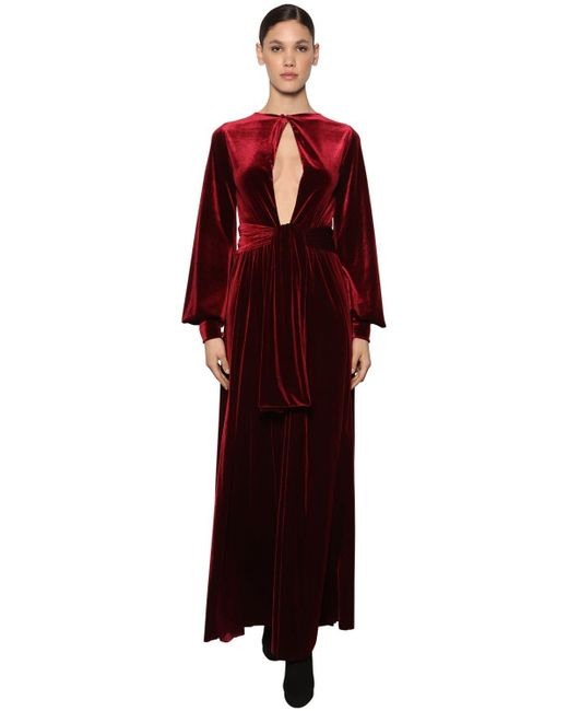 Luisa Beccaria Red Interchangeable Knotted Velvet Dress