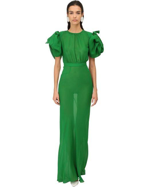 Alessandra Rich シルクジョーゼットドレス Green