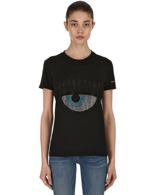 Chiara Ferragni - Black Embellished Eye Cotton Jersey T-shirt - Lyst