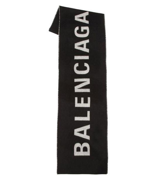 Balenciaga プリントロゴ マフラー Black