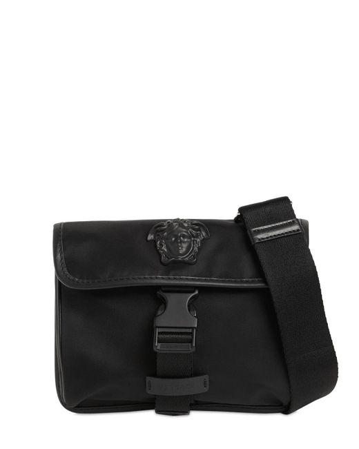 メンズ Versace ナイロン&レザーベルトバッグ Black