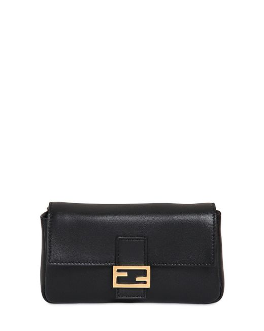 Fendi - Black Micro Baguette Nappa Leather Bag - Lyst