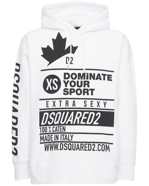 DSquared² White Printed Cotton Jersey Sweatshirt Hoodie for men