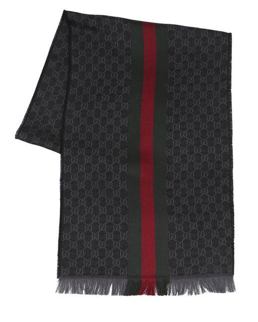 Écharpe En Soie Et Laine Avec Logo Gucci pour homme en coloris Black
