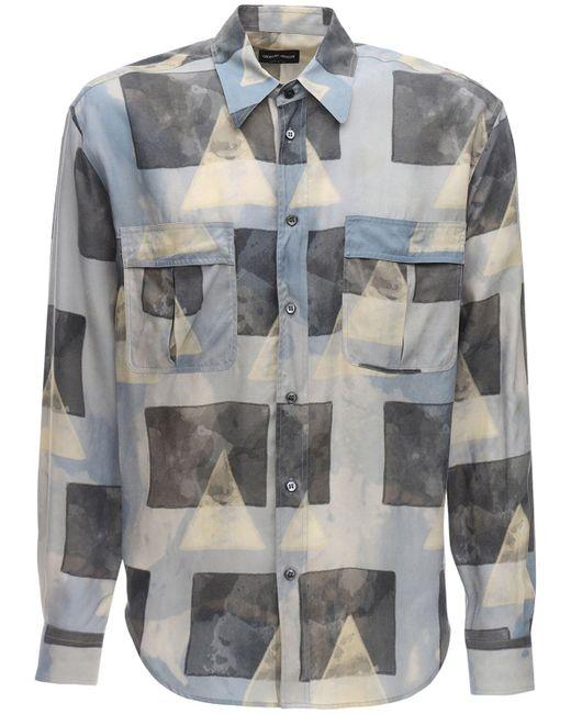 Рубашка Из Купро С Принтом Giorgio Armani для него, цвет: Gray