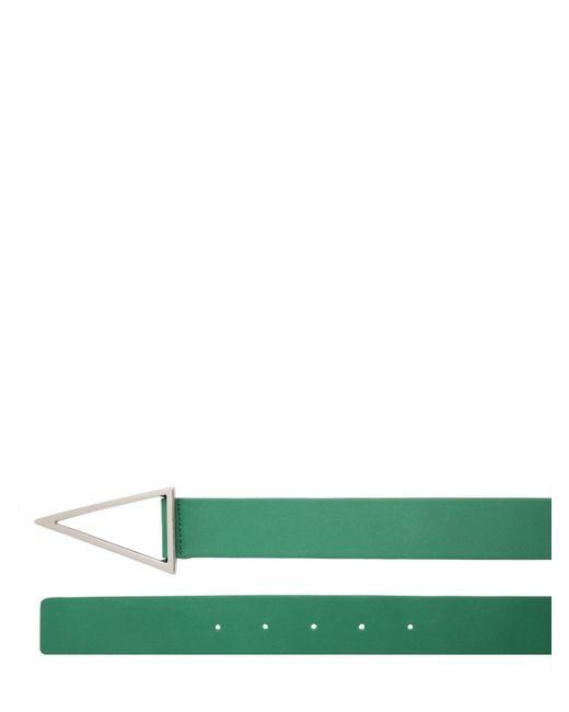 メンズ Bottega Veneta Vバックルレザーベルト 3cm Green