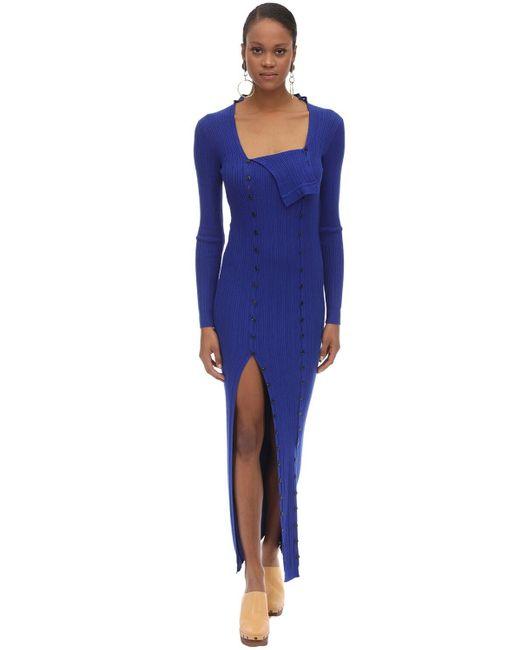Jacquemus ボタンダウンビスコースリブニットドレス Blue